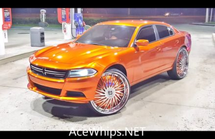 AceWhips.NET- Kerrio's Candy Orange Dodge Charger on 30″ DUB Floaters Within Zip 12203 Albany NY