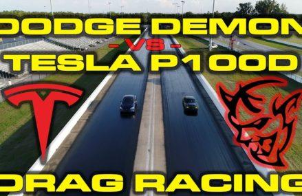 840HP Dodge Demon 1/4 Mile with Race ECU vs Tesla Model S P100D Drag Racing Within Zip 93201 Alpaugh CA