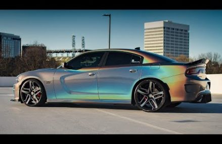 3M GLOSS FLIP PSYCHEDELIC DODGE CHARGER R/T SCAT PACK ON 22″ LEXANI WHEELS For 78718 Austin TX