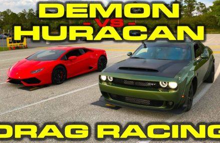 840HP Dodge Demon vs Lamborghini Huracan LP610-4 1/4 Mile Drag Racing – 3 Races From 79123 Amarillo TX