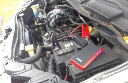 Gooloo Jumpstarter Power Bank Jumpstarting the Battery on Mary's Dodge Grand Caravan, February 23rd, at Mount Vernon 52314 IA