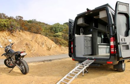 Mercedes Sprinter Van Converted into Camper with Motorcycle Inside From Nemours 24738 WV