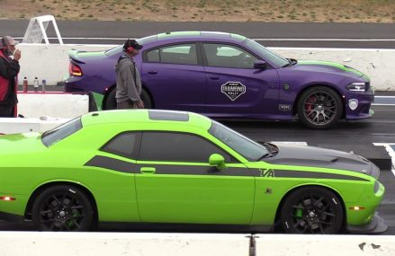 Hellcat Charger vs Challenger Scat Pack T/A – drag race Now at 3441 Ashuelot NH