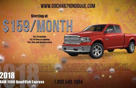 2018 RAM 1500 Lease Deal – Los Angeles, Cerritos, Downey CA – QUAD CAB EXPRESS – 800.549.1084 at 64096 Waverly MO
