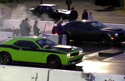 Demon vs Hellcat -1/4 mile drag race Local Area 76351 Archer City TX
