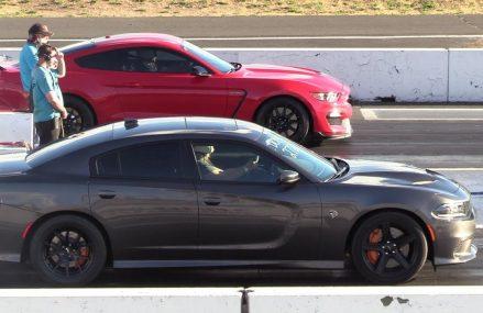 Shelby GT350 vs Hellcat Charger – drag race Within Zip 33786 Belleair Beach FL