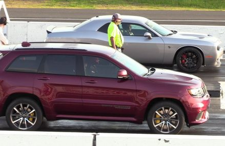 As fast as Hellcat ?? 2018 Jeep Trackhawk vs Hellcat Challenger – drag race in 16603 Altoona PA