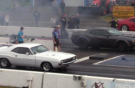 The Legend meets The Demon- Classic 72′ Challenger vs Dodge Demon-drag race Around Zip 88441 Bell Ranch NM