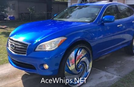 AceWhips.NET – Candy Blue Infiniti M37 on 30″ DUB Turbo Floaters For 69020 Bartley NE