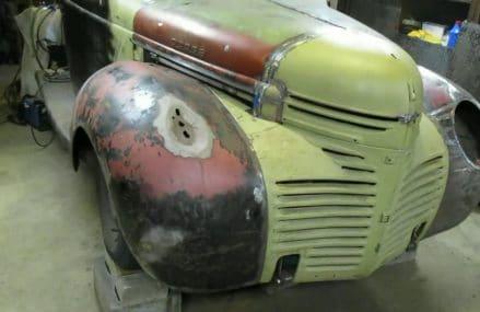 Video 50, 1946 Dodge Pickup, Passenger Fender Repair Local 4088 Waterford ME