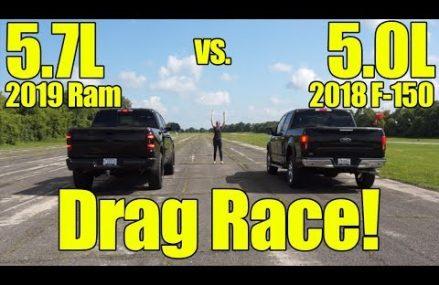 2019 Ram 1500 5.7L vs 2018 Ford F150 5.0L Drag Race! Local 77881 Wellborn TX