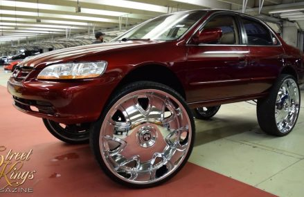 Candy Red Honda Accord on 32″s Near 2134 Allston MA