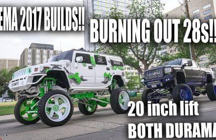 😈SEMA BUILDS BURNING OUT HUGE 28s on 42 inch tires! WILD VIDEO 😈 (20 inch lift) Locally At 74083 Wann OK