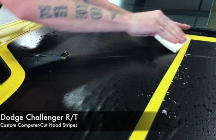 Yellow Dodge Challenger Receives Custom Vinyl Graphics From Lattimer Mines 18234 PA