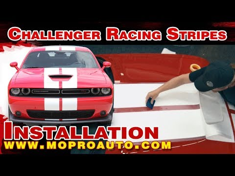 Installation of Dodge Challenger Racing Stripes, Challenger Racing Decals, Hellcat Challenger Racing 2019