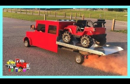 Towing The Mini Rollback On Fire Picking Up The Powered Ride on Jeep Wrangler at the Auction Locally at 79078 Sanford TX