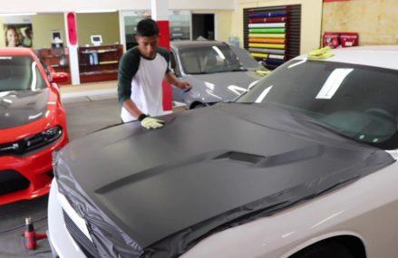 How to vinyl wrap Dodge Challenger Hood. #EnhancedAutomotive in Los Angeles 90091 CA