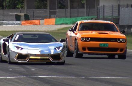 Dodge Challenger SRT Hellcat 'General Lee' vs Lamborghini Aventador at Los Olivos 93441 CA