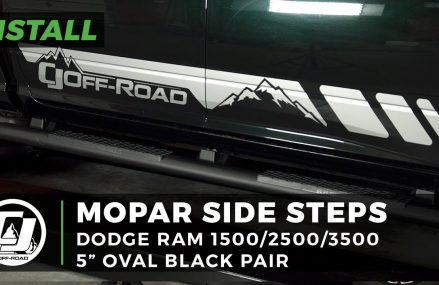 2015 Dodge Ram Install: Pair of Mopar Black 5″ Oval Side Steps with Rubber Step Pads From 73859 Vici OK