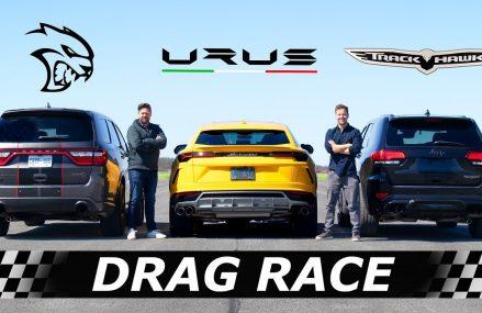 Dodge Durango Hellcat vs Lamborghini Urus vs Jeep Trackhawk // DRAG & ROLL RACE Garland Texas 2018