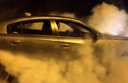 Girl does big burnout Dodge Charger at 30022 Alpharetta GA